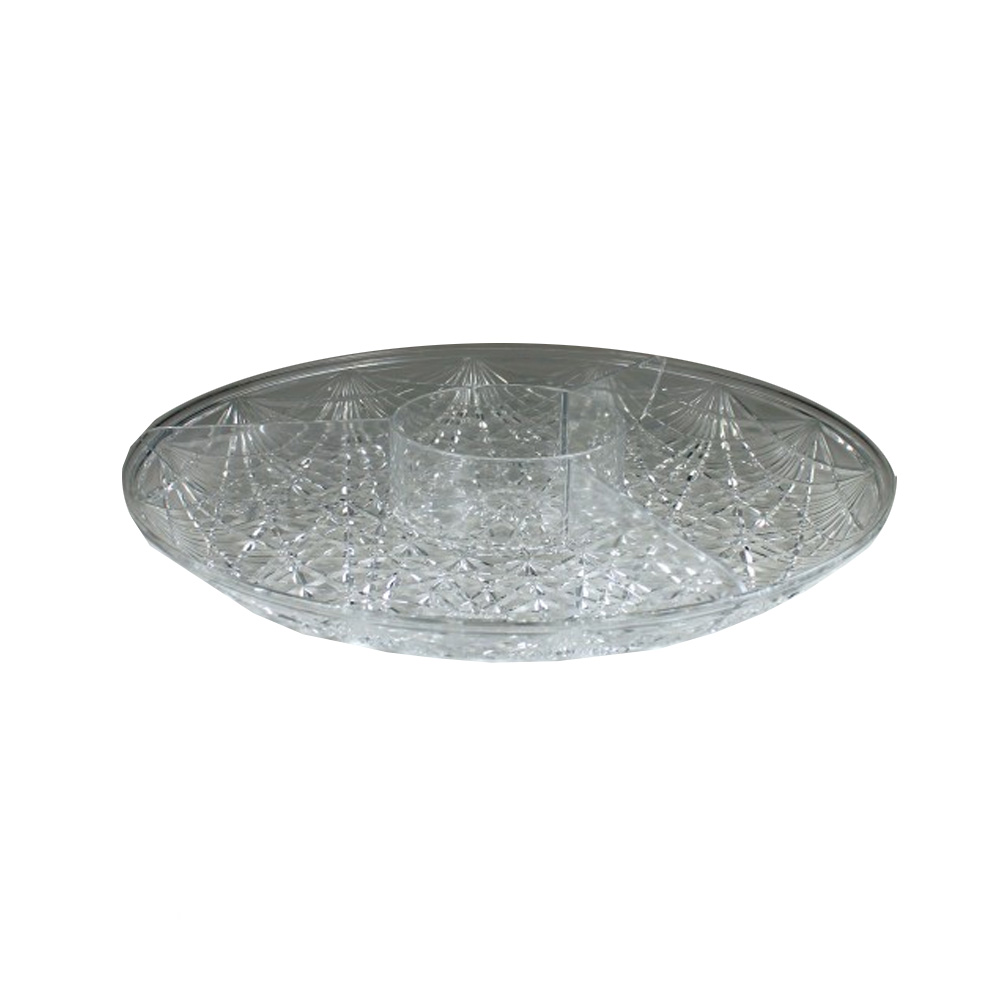 "Maryland Plastics Inc. - Crystalware Clear 15"" Round Plastic Sectional Tray MPI1501"