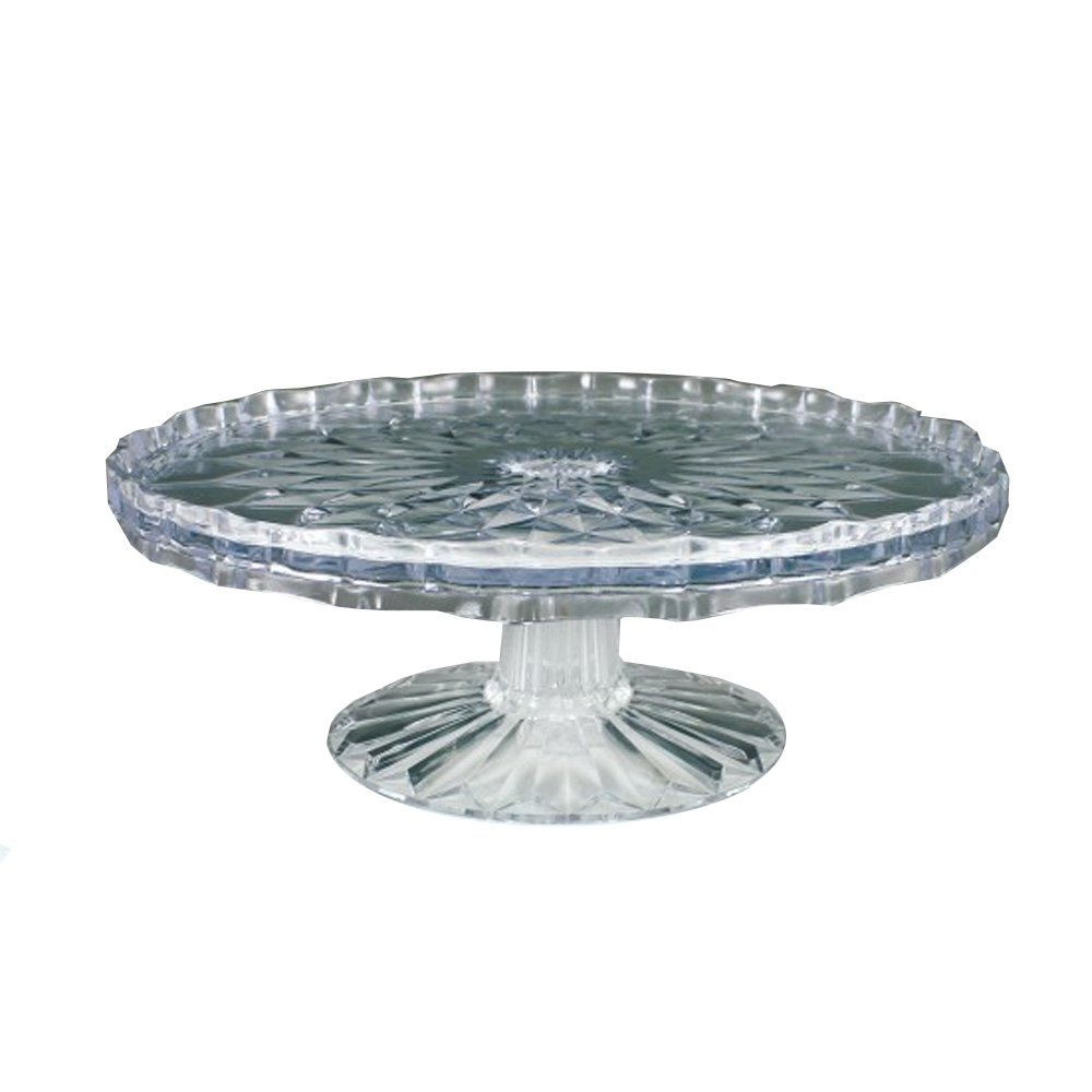 Maryland Plastics Clear Crystalware Crystal Cut   Cake Stand MPI1035