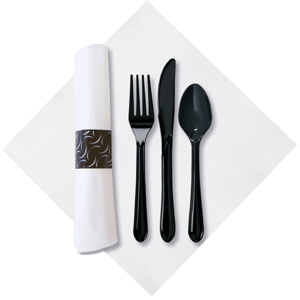 Hoffmaster - FashnPoint Black 4 Piece Cater Wrap  Cutlery Combo Fork, Knife, Teaspoon, and Napk