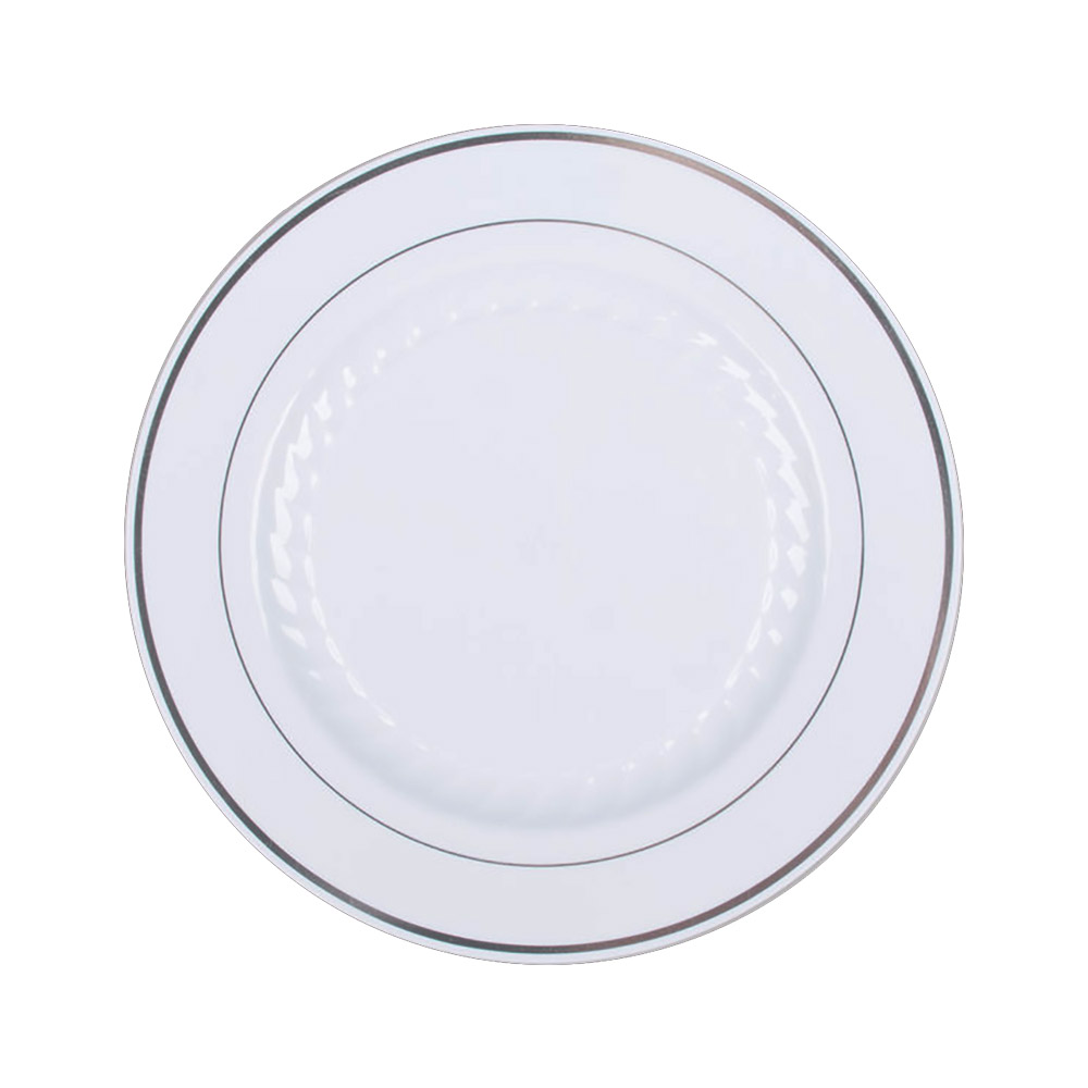 "Comet White 10.25"" Masterpiece Plastic Plate With Silver Trim MP10WSLVR"