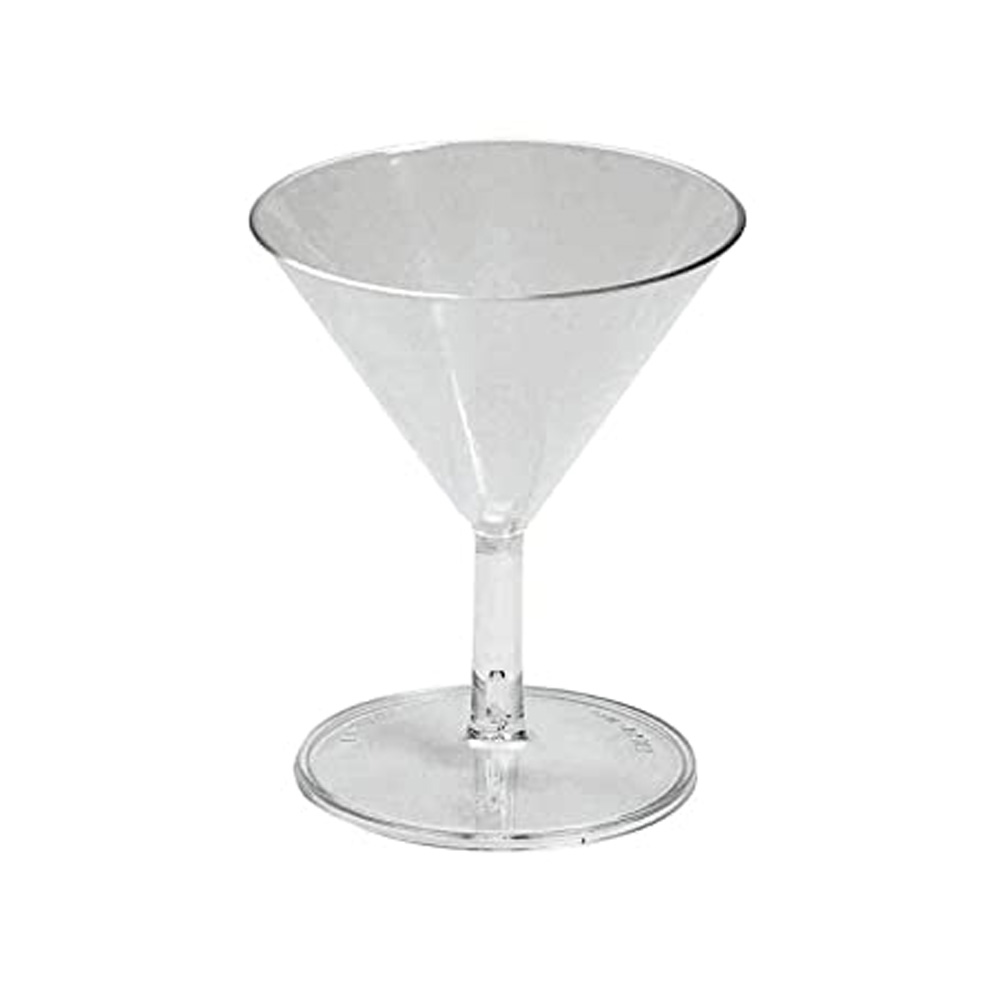 EMI Yoshi Inc. - Clear 2 oz. 2 piece Plastic Mini Martini Glass EMI-MM2C