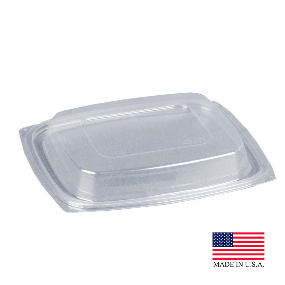 Dart - ClearPac Clear 32 oz. Rectangular Plastic Snap-on Dome Lid C32DDLR