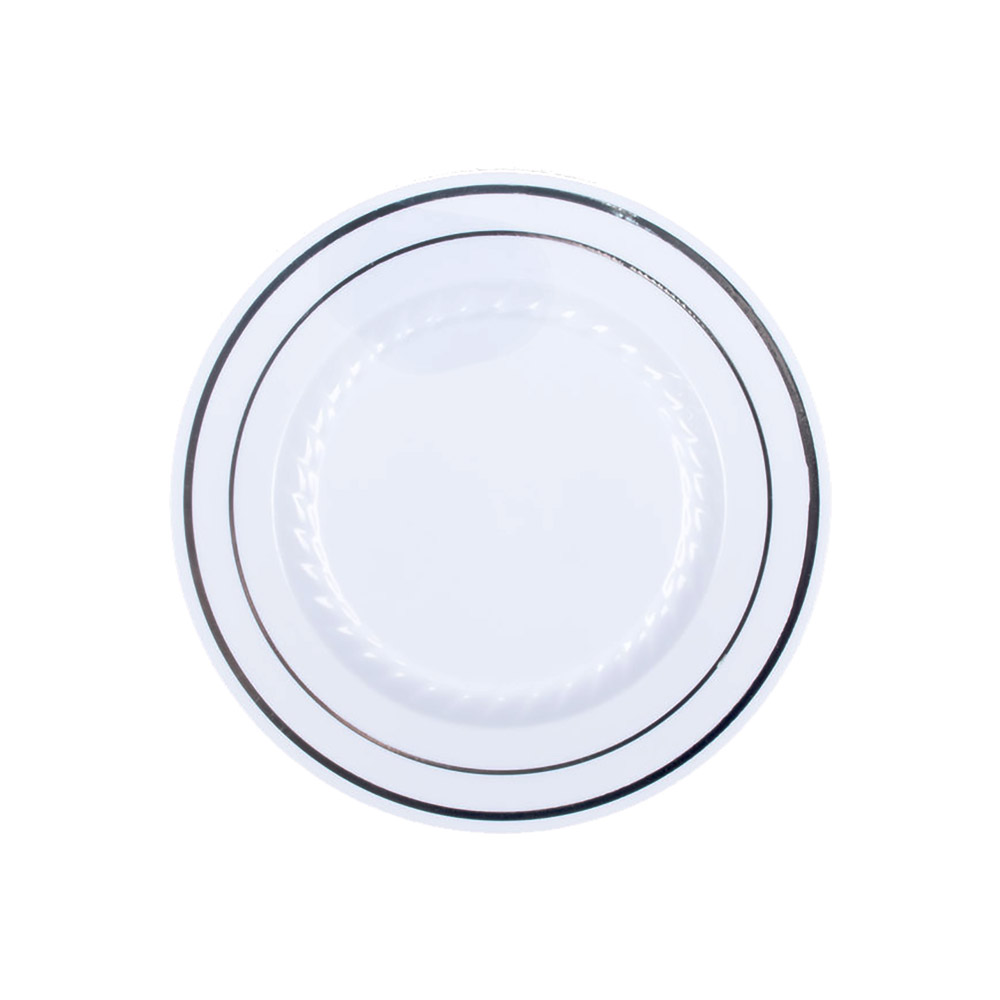 "Comet White 6"" Masterpiece Plastic Plate With GoldTrim MP6WSLVR"