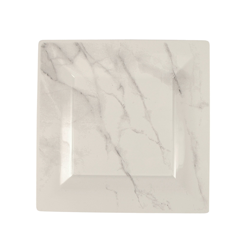 "Comet White 6.5"" Quarry Marble Motif Square       Plastic Plate EGS65W6QRY"