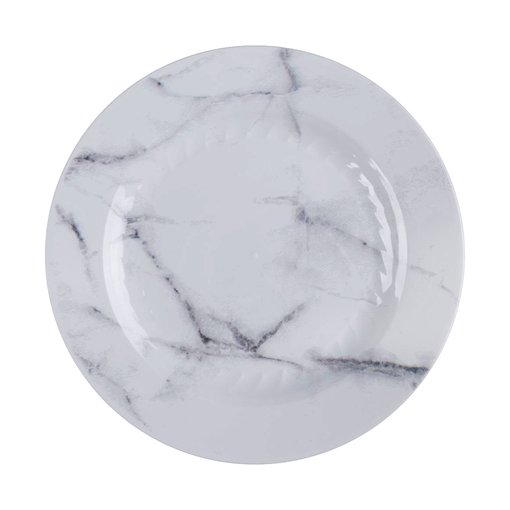 "Comet White 7.5"" Quarry Marble Motif Round PlasticPlate EMP75W6QRY"