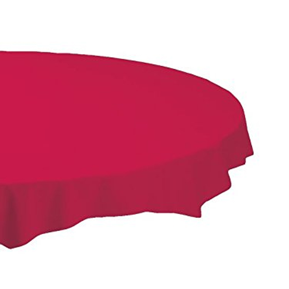 "Hoffmaster Red 82"" Octy Round Plastic Table Cover 112011"