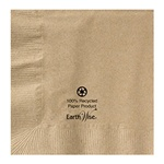 "Hoffmaster Kraft 10""x10"" 2ply 1/4 Fold Recycled   Earth Wise Beverage Napkin 180230"