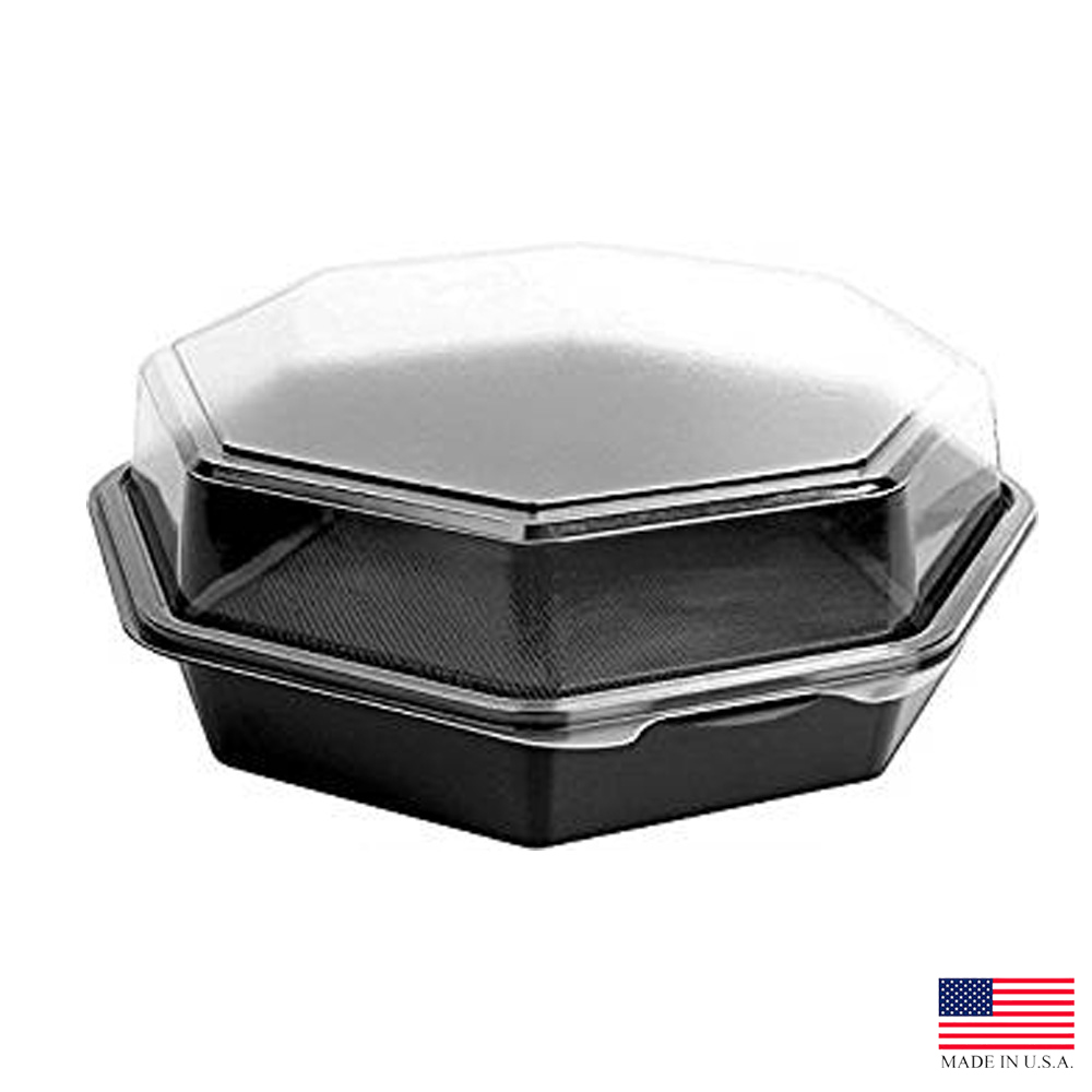 "Solo Cup Black/Clear 9.57""x9.18"" Plastic Hinged Octaview Container 864612-PS94"