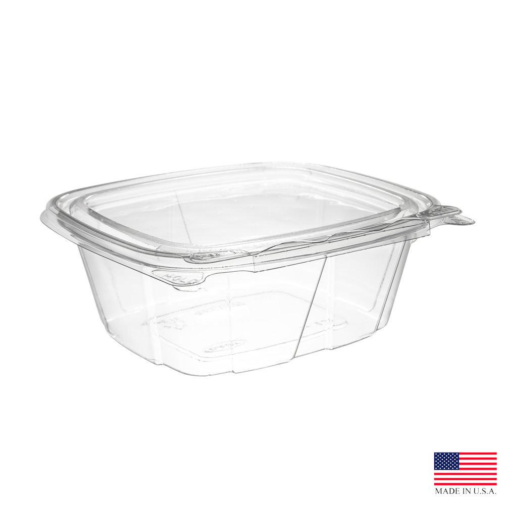 Dart - ClearPac Clear 12 oz. Rectangular Plastic Safe Seal Hinged Container and Lid CH12DEF