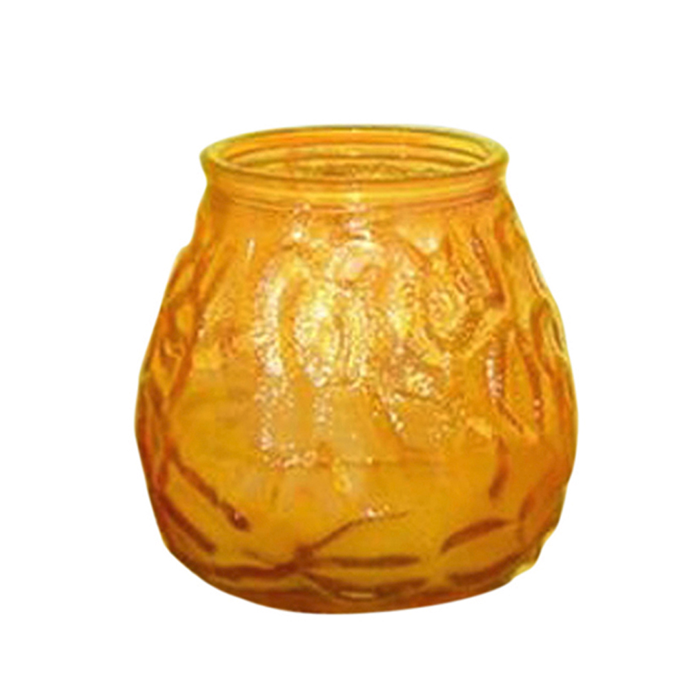 Fancy Heat Amber Fancy Lite Disposable Victorian Glass Candle F460AMBER