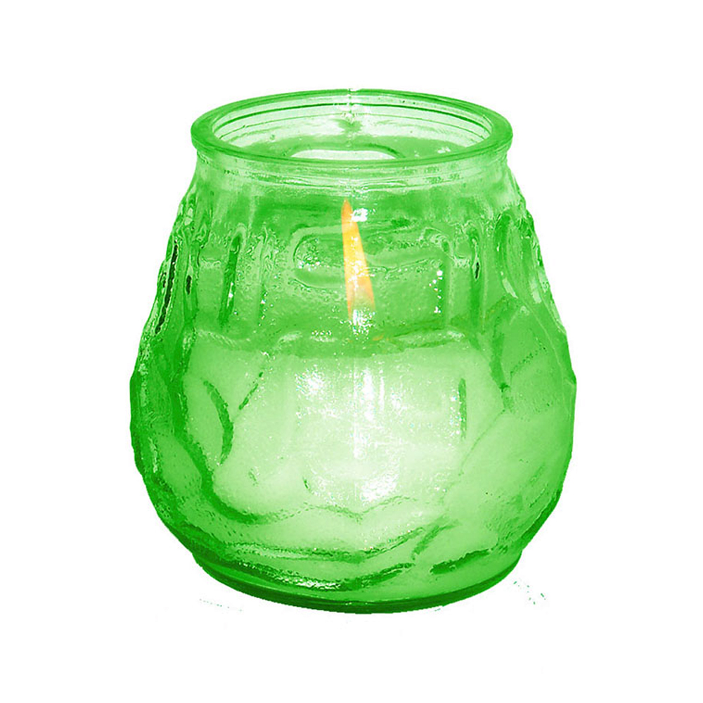Fancy Heat Green Fancy Lite Disposable Victorian Glass Candle F460GREEN
