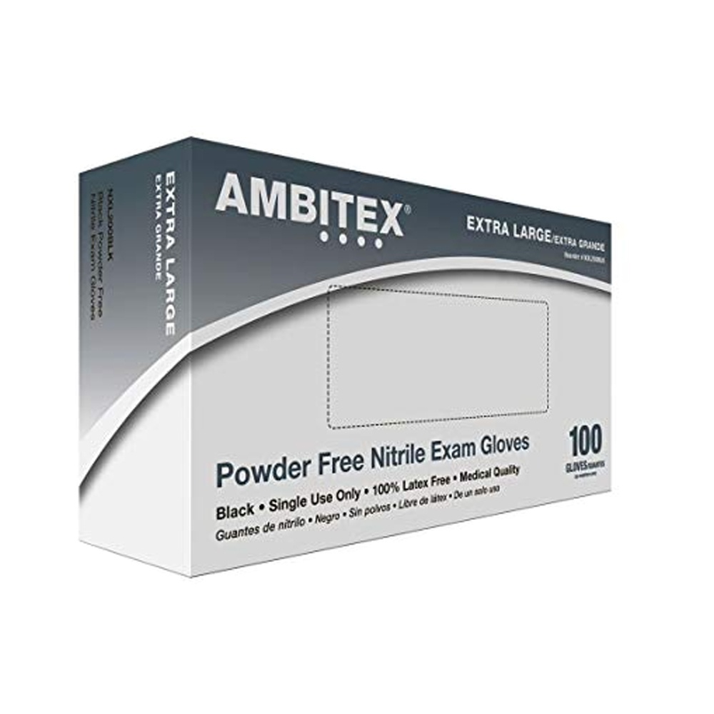 Tradex Intl. - Ambitex Black Extra Large Powder   Free Nitrile Exam Glove NXL200BLKK