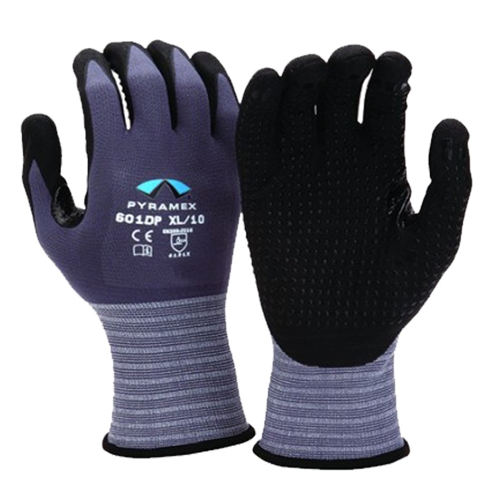 Pyramex - Extra Large 15 Gauge Nylon and Spandex  Liner Micro-Foam Nitrile Gloves GL601DP-XL