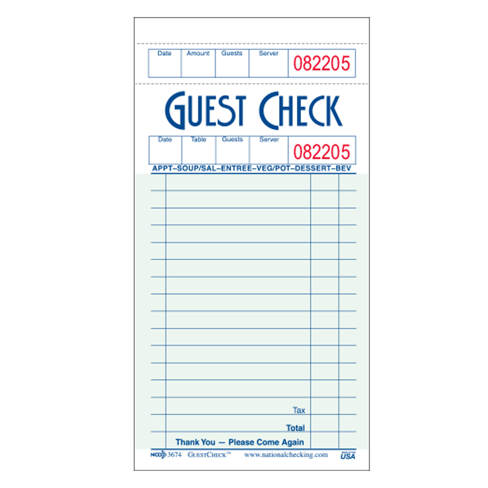 National Checking Green 16 Line Guest Check G3674