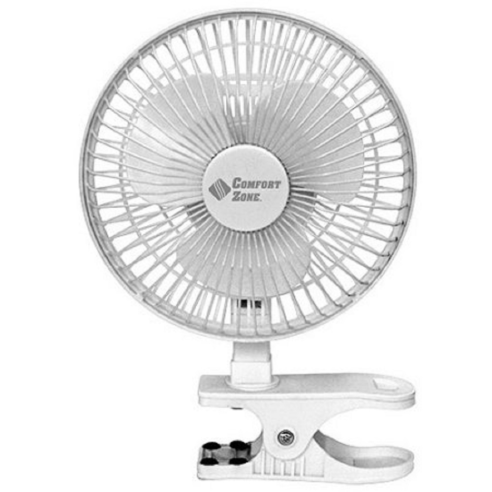 "White 6"" Comfort Zone 2 Speed Clip On Fan CZ6C"